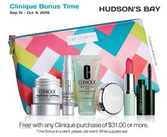 Clinique promotion at The Bay (Canada) starts today. Yours with $31 purchase. Free shipping over $100. clinique-bonus.com/canada/