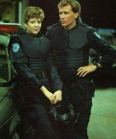 "Nancy Allen as Lewis and Peter Weller as Murphy in ""Robocop"" Nancy Allen, Fantasy Films, Sci Fi Fantasy, Robocop 2, Peter Weller, Castle Season, Cinema, Tv Show Games, Sci Fi Films"