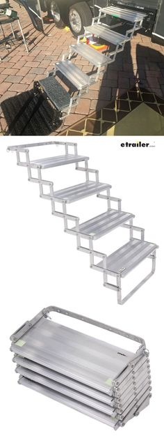 Get a sturdy lift up into your RV with a set of scissor steps. They adjust to match the terrain or even add an additional step for extra height on even the tallest RV entrance.