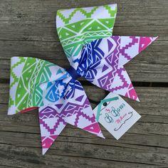 Rainbow Ombré Tribal Print dye sublimated cheer bow by B3BowsMaine