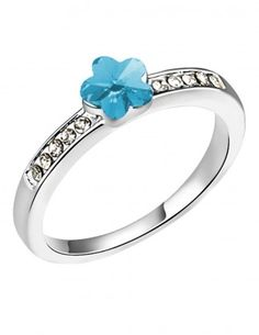 Dahlia Women's Ring - Flower Swarovski Elements Crystal - Blue