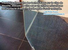 Vous en avez assez des taches d'eau sur votre vitre de douche ?   Découvrez l'astuce ici : http://www.comment-economiser.fr/tache-d-eau-vitre-douche.html?utm_content=buffer9a8bf&utm_medium=social&utm_source=pinterest.com&utm_campaign=buffer