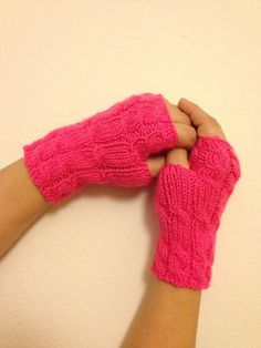 Pink Fingerless Gloves Armwarmers  Hand Knit Chic by NesrinArt, $19.00