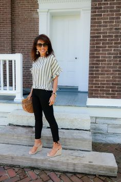 Striped Top with Black Jeans