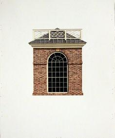 Garden Pavilion at Monticello / Michael Hampton / watercolor on paper / Art Size: 6.5 x 8; Frame Size: 15 x 16.5
