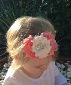 Peach and Ivory Shabby Chic Baby Headband by LaBandeauxBowtique, $8.50