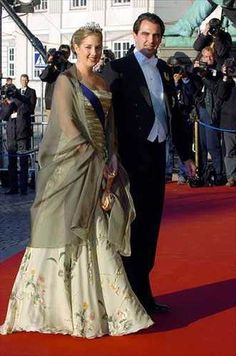 Princess Theodora of Greece wore the Antique Corsage Tiara for the pre-wedding Opera Performance of Crown Prince Frederik of Denmark and Mary Donaldson on May 13, 2004.