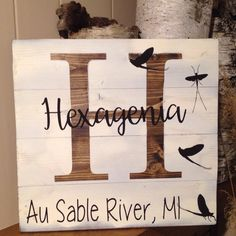 Rustic wood fishing sign, wood fishing sign, wood sign, fishing sign, Au Sable River, Hexagenia, River sign, by MittenGirlzDesigns on Etsy
