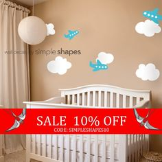 Sale  Airplanes with Clouds Decal Set  Kids vinyl by SimpleShapes