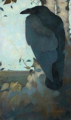 art-and-fury:  Raven on Birch Tree -Jan Mankes