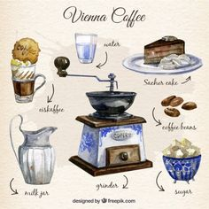 Hand painted Vienna coffee elements Free Vector