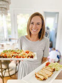 Air Fried Taquitos (Dairy-Free, Vegan) - Carolina Charm Make Refried Beans, Dinner Is Served, Vegan Cheese, Vegan Dinners, Air Fryer Recipes, Copycat Recipes, Sweet Recipes, Dairy Free, Fries