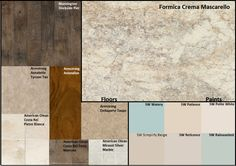 Formica Crema Mascarello color groupings; kitchen selections; flooring that goes with Crema Mascarello; kitchen paint colors that match crema mascarello