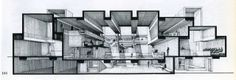 Orange County Government Center, Goshen, New York - 1971 Perspective Paul Rudolph Architecture Graphics, Architecture Drawings, School Architecture, Technical Illustration, Illustration Art, Technical Drawings, Sectional Perspective, Paul Rudolph, Section Drawing