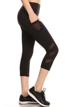 aeb3cdf9c8 Athletic Work-Out Yoga Capri Leggings CP02 | Pockets | Black. Mesh Yoga  LeggingsCapri LeggingsYoga CaprisSports LeggingsPink ...
