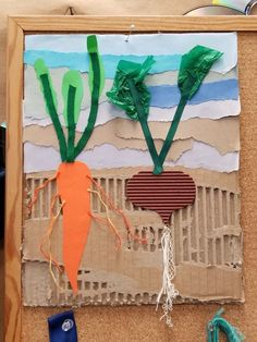 root veggies craft for kids! A fun mixed media art project for preschoolers and schoolagers Spring Art, Spring Crafts, Summer Art, Art 2nd Grade, Art For Kids, Crafts For Kids, Art Children, Classe D'art, Ecole Art