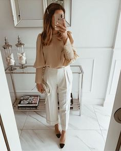 """Mint Label on Instagram: """"Beige BLANCA blouse can be dressed up for almost any occasion and it mixes well with creased pants. Go all-neutrals if you'd like to look…"""" Cute Office Outfits, Stylish Work Outfits, New Outfits, Fall Outfits, Fashion Outfits, Fashion Fashion, Workwear Fashion, Office Fashion Women, Fashion Tips For Women"""