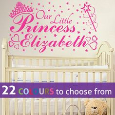 PERSONALISED our little PRINCESS NAME wall sticker/decal art for baby girls nursery or bedroom