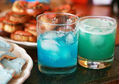 """The Malibu Wave AKA """"The Chainsaw Chiller"""" (for one beverage)  1 oz. tequila 1/2 oz. triple sec dash blue curaçao 3/4 oz. lime juice 3/4 oz. lemon juice 1 teaspoon sugar  Pour ingredients into a ice-filled shaker and shake until chilled. Serve on ice."""