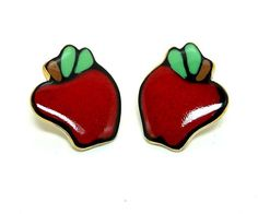 Fall Sale - Marked Down 20% ! #GiftIdeas FALL SALE - 20% off -  Vintage Red Apple Earrings for Pierced Ears offered by TheJewelSeeker  Want to give a teacher an apple?  Or have you had your apple a day?  This is a... #vintage #jewelry #teamlove #etsyretwt #ecochic #thejewelseeker