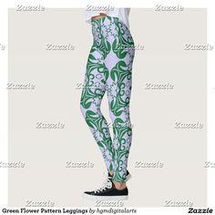 Green Flower Pattern Leggings