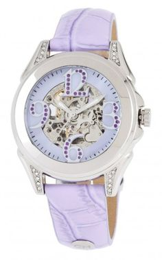 Carlo Monti CM801-190 Messina Purple Mother of Pearl  Automatic Skeleton Watch For Women