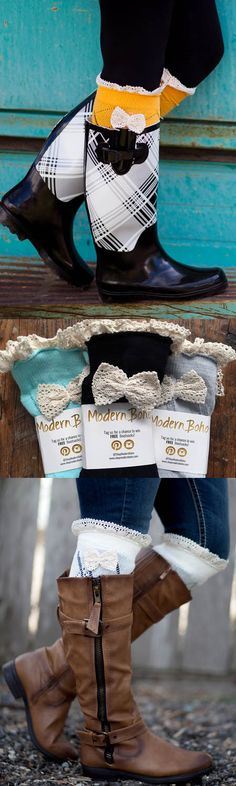 Boot socks with a cute bow. Love how these are different from most boot socks I've seen. So many colors to choose from. Would look super cute with leggings, a skirt, or skinny jeans.