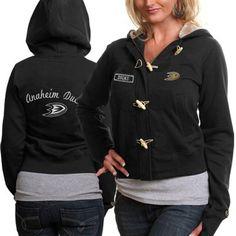 Old Time Hockey Anaheim Ducks Ladies Inna Toggle Hoodie Sweatshirt - Black  Hockey Hoodie 8639d9bd0