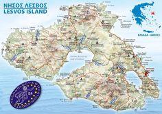 Lesbos or Lesvos Island, Greece Cartography, Taj Mahal, Greece, Ocean, Sky, Travel, Ancient Map, Image, Islands