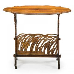 """EMILE GALLE Art Nouveau jonquil table  #Art #Nouveau #marquetry table with #jonquil, #France, ca. 1900 Inlaid signature 31 1/2"""" x 37"""" x 26"""""""