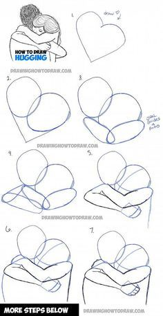 drawing a couple hugging - two people hugs in easy steps: