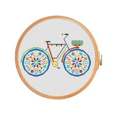 Summer bike with basket in bright colors - modern cross stitch pattern.  Floss: DMC Canvas: Aida 14 Grid Size: 90W x 141H Design Area: 6,21 x 9,93 (87 x 139 stitches)  Number of colors: 8  Use 2 strands of thread for cross stitch.  ONLY PATTERN! This PDF file counted cross stitch pattern is available for instant download.  This PDF pattern Included: - Color image of the finished design - Color Block Chart - Color Floss Legend with DMC stranded cotton.   In order to open these files you will…