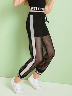 To find out about the Girls Drawstring Waist Striped Hem Fishnet Mesh Overlay Pants at SHEIN, part of our latest Girls Pants & Leggings ready to shop online today! Cute Lazy Outfits, Teenage Outfits, Kids Outfits Girls, Sporty Outfits, Stylish Outfits, Girls Fashion Clothes, Teen Fashion Outfits, Girl Fashion, Girls Sportswear