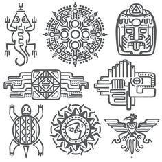 Illustration of Ancient mexican vector mythology symbols. Aztec and mexican tattoo, illustration of mayan symbol tattoo vector art, clipart and stock vectors. Mayan Tattoos, Filipino Tattoos, Polynesian Tattoos, Indian Tattoos, Aztec Symbols, Celtic Symbols, Egyptian Symbols, Ancient Symbols, Hawaiianisches Tattoo