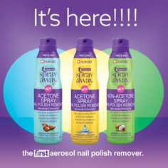 """It´s here!!! """"SPRAY AWAY - THE FIRST AEROSOL NAIL POLISH REMOVER""""  - Maximum Strength - 100% Leak & Spill proof - 2X Faster removal - Non-Drying formula - No white residue #nailpolish #nailaid #nailcare #bestnailcarebrand #nailaidworks #nailpolishaddict #nailpolishremover #polishremover #manicure #nailart #nailstagram #nail #nails #happythursday"""