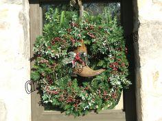 Western Boot Christmas Wreath Decoration