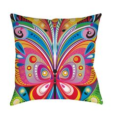 Thumbprintz Pattern Butterfly Throw/ Floor Pillow (26 x 26/Floor Cushion), Multi (Polyester, Animal)