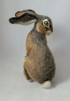 OOAK Needle Felted Realistic Sitting Young Hare Rabbit by Tatiana Trot Needle Felted Animals, Felt Animals, Needle Felting, Nuno Felting, Rabbit Sculpture, Soft Sculpture, Hare Pictures, Hare Illustration, Animal Sketches