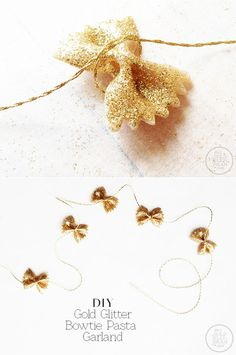 #shoppricelesscontest DIY gold a Glitter pasta bow ties! For garland or streamers