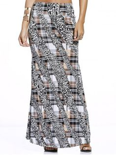 Tartan With Leopard Print Maxi Skirt For Women | Psychedelic Monk