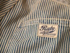 Rugby / Railroad Stripes Jean Clothing Tags, Striped Jeans, Printing Labels, Fashion Fabric, Fashion Branding, Vintage Denim, My Wardrobe, Thrifting, Work Wear