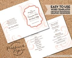 Wedding Program - Frame and Flourish - Spice - DIY Editable Word Template, Instant Download, Printable, Edit your text & Print at Home  $10.00 at www.parkbenchpaperie.etsy.com