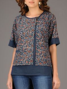 Buy Online Buy Indigo Red Ajrakh printed Asymmetrical Cotton Top Women Tops Winter's Muse Contemporary tussar silk linen jackets and Short Kurti Designs, Kurta Designs Women, Blouse Designs, Sewing Clothes Women, Clothes For Women, Umgestaltete Shirts, Winter Tops, Winter Shirts, Linen Jackets