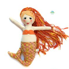 MERMAID DOLL cloth handmade doll with embroidered by Lilolimon