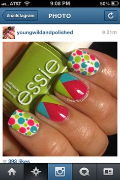 An absolutely adorable pink/turquoise/green design with essie nail polish! I love how fun and bold this is! Fancy Nails, Love Nails, Diy Nails, How To Do Nails, Fabulous Nails, Gorgeous Nails, Pretty Nails, Essie, Nails Polish