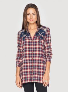 Embrace the adventurous spirit of the American Frontier in the Workshop Paulette Bias Yoke Flannel Tunic! This plaid tunic top features an asymmetrical hemline and embroidery details along the shoulders. Cozy up for Fall as you pair the Paulette Bias Y Johnny Was Clothing, Flannel Tunic, Boho Girl, All Things Cute, Hemline, Tunic Tops, American Frontier, Flat Boots, Kara