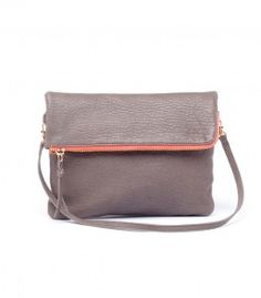 gray leather purse with colored zipper.