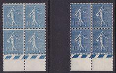 FRANCE 1924/32. N°205 ET 205a BLEU NOIR BLOCS 4 BDF XX SUP ++758€   A341