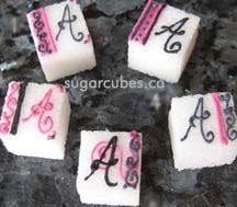 Classic and Elegant Monogrammed Decorated Sugar Cubes in black and fuchsia