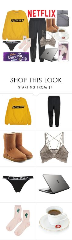 """""""I dont even have NETFLIX ugh!"""" by lexi-loves-fashion ❤ liked on Polyvore featuring adidas, UGG, Cosabella, Calvin Klein Underwear, HP, Topshop, bed, chill and netflix"""